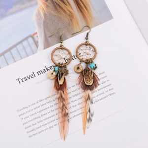 26066 dfa14f 300x300 - TopHanqi Bohemian Hollow Dream Catcher Leaf Feather Earrings For Women Indian Jewelry Blue Natural Stone Drop Dangle Earrings