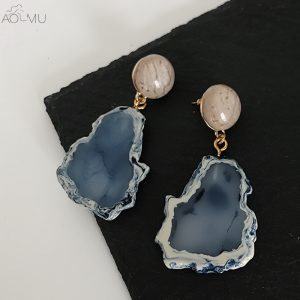 26108 8c15f1 300x300 - AOMU Fashion Design Acrylic Geometric Irregular Blue Mountain Stone Long Drop Earrings Resin Jewelry For Women Girl Brincos