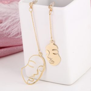 26163 9307a6 300x300 - Gold Color Geometric Dangle Earrings For Women New Arrival Abstract Stylish Hollow Out Face Metal Statement Vintage Jewelry