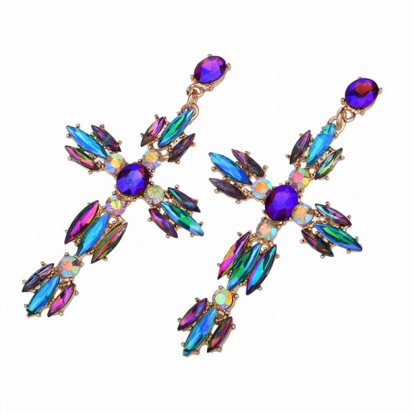 26166 2f6820 600x600 - Colorful Cross Earrings For Women Large Big statement Earrings 2019 crystal summer earing red blue fashion jewelry unique trendy