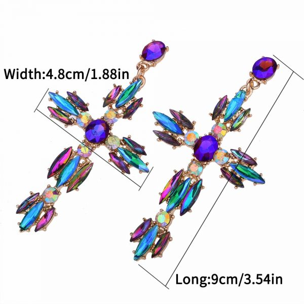 26166 57f2ca 600x600 - Colorful Cross Earrings For Women Large Big statement Earrings 2019 crystal summer earing red blue fashion jewelry unique trendy