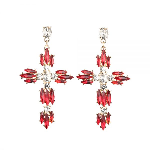 26166 8c3ef5 600x600 - Colorful Cross Earrings For Women Large Big statement Earrings 2019 crystal summer earing red blue fashion jewelry unique trendy