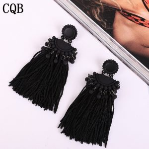 26214 2573bd 300x300 - New fringed ladies earrings bohemian style long paragraph geometric fashion pendant gift statement black earrings female rope cc