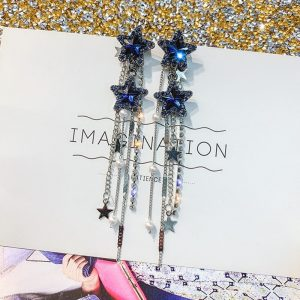 26285 84a3d9 300x300 - FYUAN Korean Style Shiny Star Drop Earrings for Women New Bijoux Long Tassel Blue Crystal Dangle Earrings Jewelry Accessories
