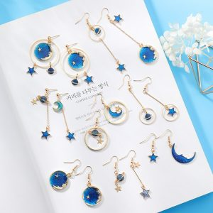 26469 8a626a 300x300 - 2018 New Creative Blue Universe Asymmetric Earrings For Girl Ear Accessories Cute Moon Star Drop Pendientes Tassel Brincos
