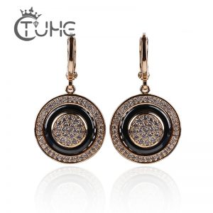 26807 b37721 300x300 - 585 Rose Gold Round Black Earrings Micro Wax Inlay Natural Zircon Black Ceramic Women Wedding Stud Earring Jewelry 2018 New Hot