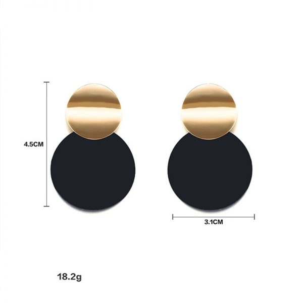 26866 376d27 600x600 - Unique Black Stud Earrings Trendy Gold Color Round Metal Statement Earrings for Women New Arrival wing yuk tak Fashion Jewelry
