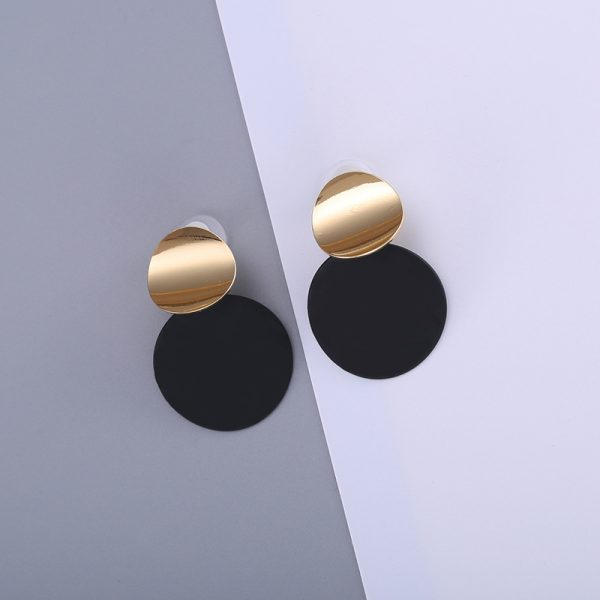 26866 af36c7 600x600 - Unique Black Stud Earrings Trendy Gold Color Round Metal Statement Earrings for Women New Arrival wing yuk tak Fashion Jewelry
