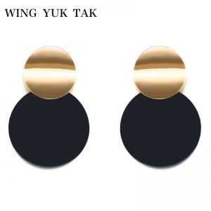 26866 f2d326 300x300 - Unique Black Stud Earrings Trendy Gold Color Round Metal Statement Earrings for Women New Arrival wing yuk tak Fashion Jewelry