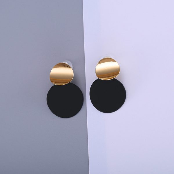 26866 fc3de5 600x600 - Unique Black Stud Earrings Trendy Gold Color Round Metal Statement Earrings for Women New Arrival wing yuk tak Fashion Jewelry