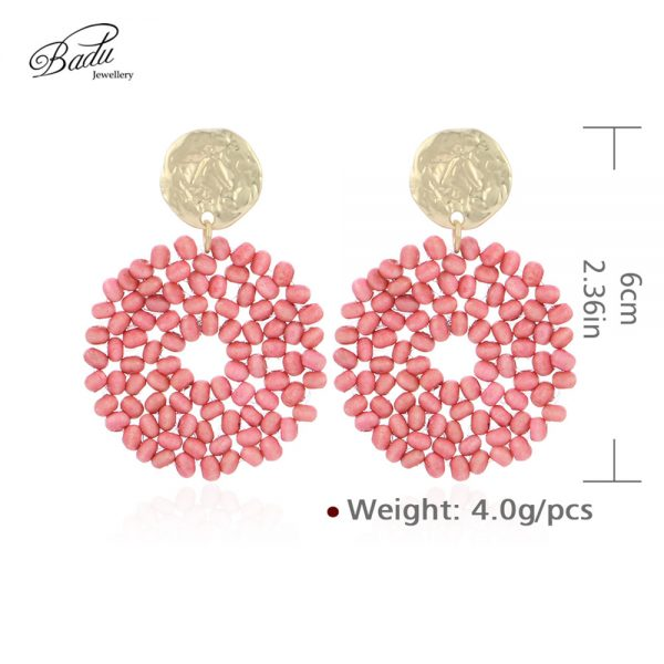 27521 0411de 600x600 - Badu 2019 New Arrival Dangle Earring Red Wooden Beads Big Vintage Weave Earrings Retro Jewelry Gift for Girls Wholesale