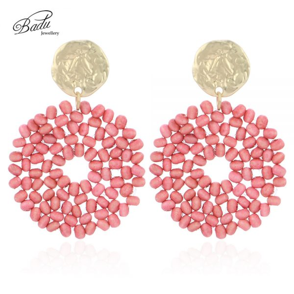 27521 52dc3e 600x600 - Badu 2019 New Arrival Dangle Earring Red Wooden Beads Big Vintage Weave Earrings Retro Jewelry Gift for Girls Wholesale
