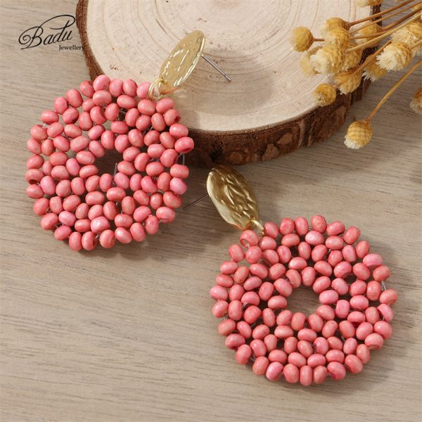 27521 823fe4 600x600 - Badu 2019 New Arrival Dangle Earring Red Wooden Beads Big Vintage Weave Earrings Retro Jewelry Gift for Girls Wholesale