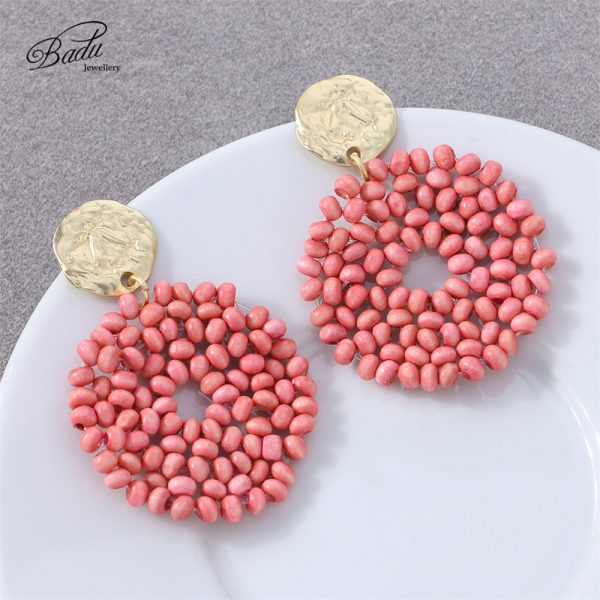27521 883f80 600x600 - Badu 2019 New Arrival Dangle Earring Red Wooden Beads Big Vintage Weave Earrings Retro Jewelry Gift for Girls Wholesale