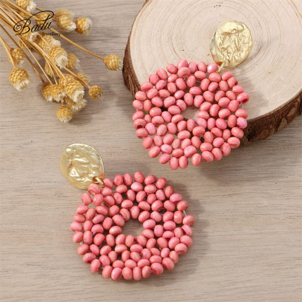 27521 bbb973 600x600 - Badu 2019 New Arrival Dangle Earring Red Wooden Beads Big Vintage Weave Earrings Retro Jewelry Gift for Girls Wholesale