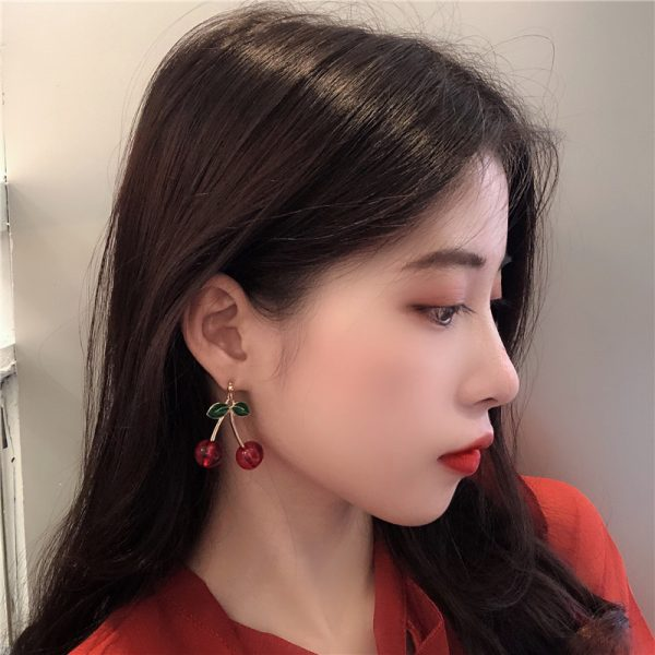 27528 4b07a1 600x600 - Fashion temperament contracted red cherry earrings woman sweet personality joker small stud earrings