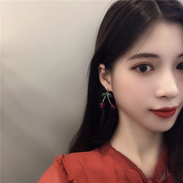 27528 7a8b82 600x600 - Fashion temperament contracted red cherry earrings woman sweet personality joker small stud earrings