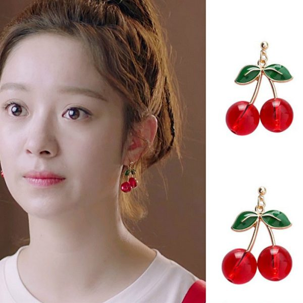 27528 bbfee0 600x600 - Fashion temperament contracted red cherry earrings woman sweet personality joker small stud earrings