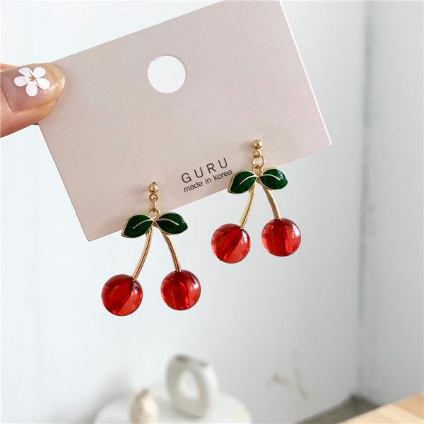 27528 bdb7dd 600x600 - Fashion temperament contracted red cherry earrings woman sweet personality joker small stud earrings