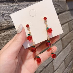 27548 ab19bc 300x300 - Women Fashion Earrings Cute Simple Simple Red Rhinestone Cherry Drop Earrings for Girl Jewelry Accessories