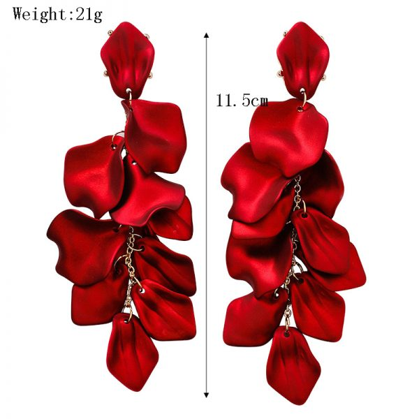 27579 9174cb 600x600 - YAOLOGE New Shiny Side New Fashion Brand Jewelry Red Rose Flower Long Dangle Earrings For Women Elegant Korean Tassel Earrings