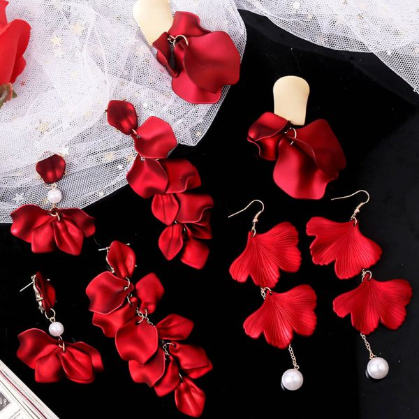 27579 b0d8e8 600x600 - YAOLOGE New Shiny Side New Fashion Brand Jewelry Red Rose Flower Long Dangle Earrings For Women Elegant Korean Tassel Earrings