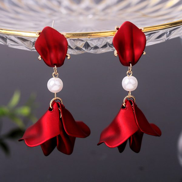 27579 bfa9cd 600x600 - YAOLOGE New Shiny Side New Fashion Brand Jewelry Red Rose Flower Long Dangle Earrings For Women Elegant Korean Tassel Earrings