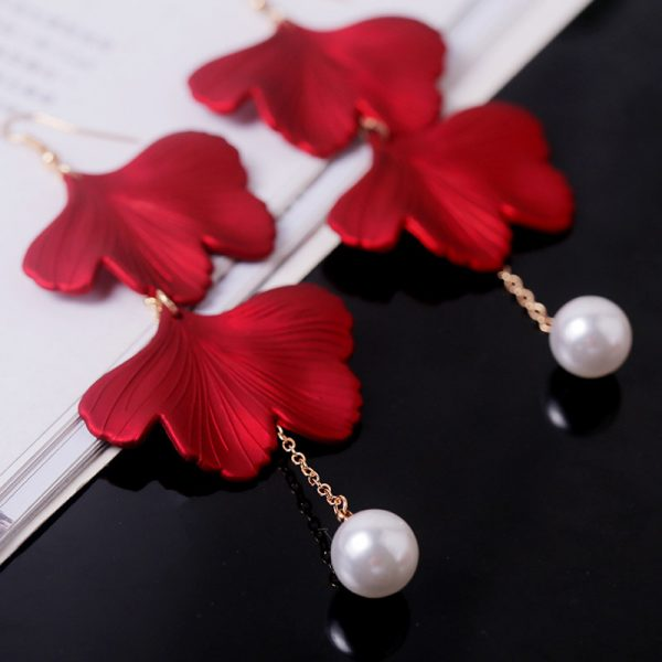 27579 e904c5 600x600 - YAOLOGE New Shiny Side New Fashion Brand Jewelry Red Rose Flower Long Dangle Earrings For Women Elegant Korean Tassel Earrings