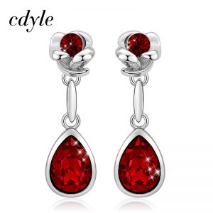 27719 f7d2d4 300x300 - Clyde Vintage Jewelry Rose Flower Water Drop Earrings with Red Austrian Crystal Long Chandelier Earrings for Women Party Gifts
