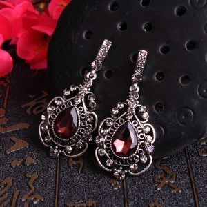 27723 3efef5 300x300 - Retro palace Water drop gem temperament Flash drilling earring Female Red wine earring S925 silver Prevent allergy Wild earring