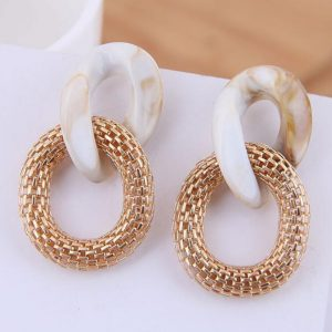 27778 6e844d 300x300 - New Acrylic Metal Chain Mesh Drop Earrings For Women Retro Round Maxi Pendant Statement Earrings Party Gifts Jewelry Female Red