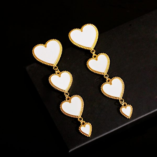 27794 859cc3 600x600 - 2019 Classic Four Heart Long Dangle Earrings For Women Red Black White Statement Earring Gold Silver Color Earring