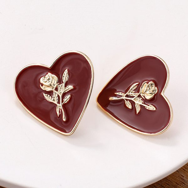 27850 1ef804 600x600 - Flashbuy Fashion Metal Heart Rose Dangle Earrings For Women Wine Red Statement Earring Simple Wedding Jewelry Trendy Accessories