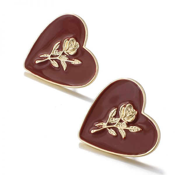 27850 4cfb9e 600x600 - Flashbuy Fashion Metal Heart Rose Dangle Earrings For Women Wine Red Statement Earring Simple Wedding Jewelry Trendy Accessories