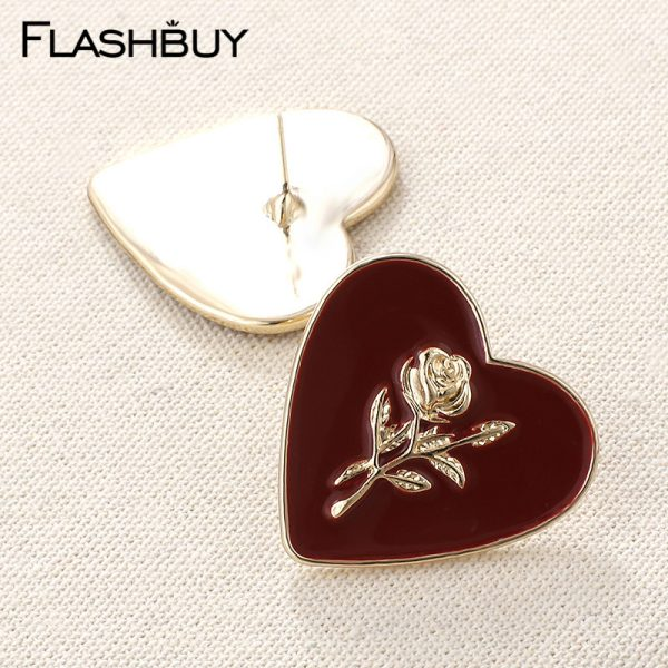 27850 908a66 600x600 - Flashbuy Fashion Metal Heart Rose Dangle Earrings For Women Wine Red Statement Earring Simple Wedding Jewelry Trendy Accessories