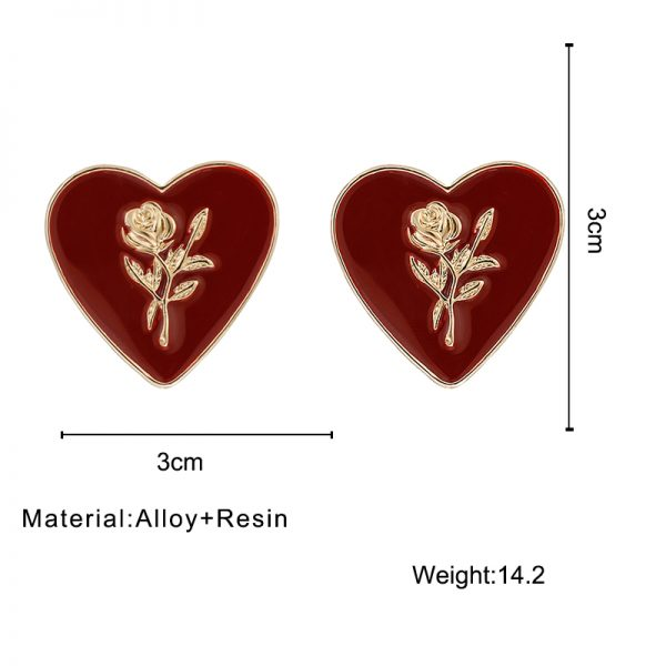 27850 ef463f 600x600 - Flashbuy Fashion Metal Heart Rose Dangle Earrings For Women Wine Red Statement Earring Simple Wedding Jewelry Trendy Accessories