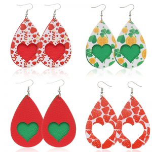 27958 aca538 300x300 - Red Green Heart Print Love PU Leather Drop Earrings Dangle Drop Earrings Valentine's Day Gift Love Fashion Jewelry Wholesale