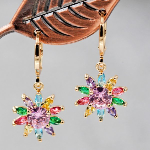 28351 9cac66 600x600 - Multi color Sunflower Luxury Hanging Drop Earrings