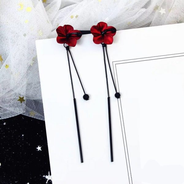 28396 1d200c 600x600 - QCOOLJLY Retro Red Flowers Long Tassel Earrings Temperament Pendant Ear Lady Vintage Eardrop Hanging Earrings Jewelry Brincos