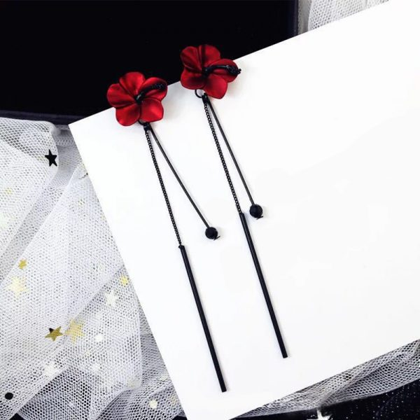 28396 de9fa8 600x600 - QCOOLJLY Retro Red Flowers Long Tassel Earrings Temperament Pendant Ear Lady Vintage Eardrop Hanging Earrings Jewelry Brincos
