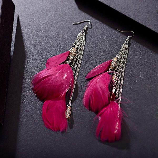 28449 2a1db5 600x600 - Ethnic Summer Long Rose Red Feather Earrings For Women Long Chain Gypsy Hippie Wedding Earrings Boucle D'oreille