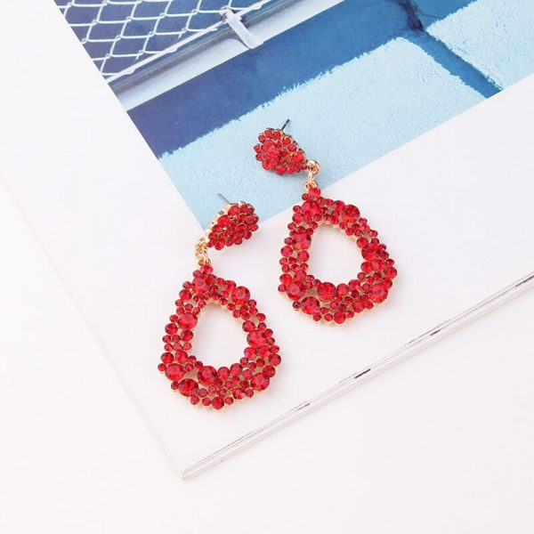 28483 11c21d 600x600 - LUBOV 4 styles RED Geometric Crystal Stone Gold Color Metal Frame Drop Earrings for Women Birthday Gift Party Jewelry