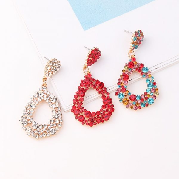 28483 b5482c 600x600 - LUBOV 4 styles RED Geometric Crystal Stone Gold Color Metal Frame Drop Earrings for Women Birthday Gift Party Jewelry