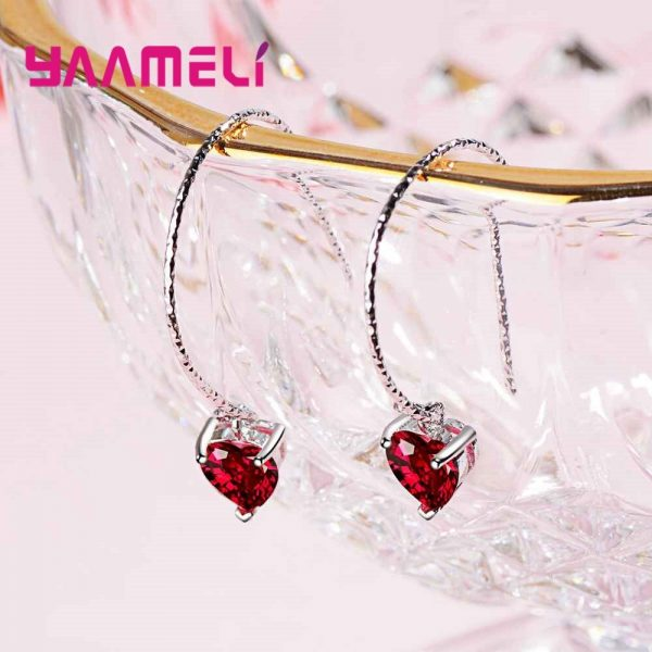 28565 033bc8 600x600 - Fashion Newest Women Jewelry Red Heart Shape AAAAA Cubic Zirconia 925 Sterling Silver Eardrop Wedding Excellent Earring