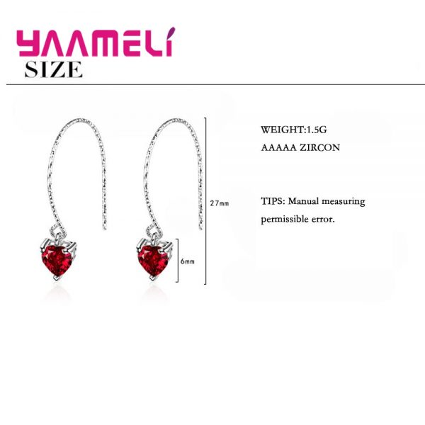 28565 6bf802 600x600 - Fashion Newest Women Jewelry Red Heart Shape AAAAA Cubic Zirconia 925 Sterling Silver Eardrop Wedding Excellent Earring