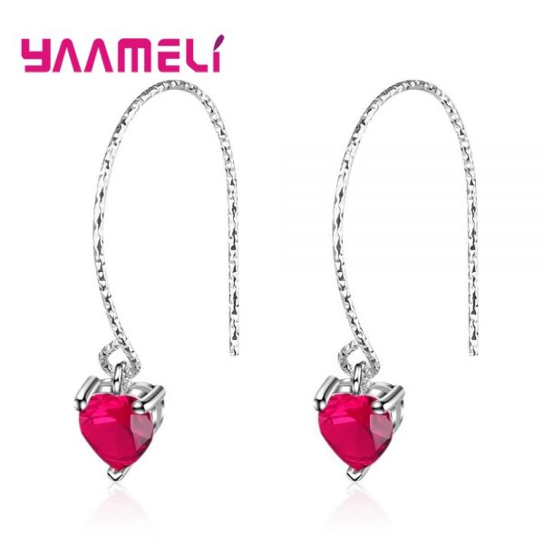 28565 7e9076 600x600 - Fashion Newest Women Jewelry Red Heart Shape AAAAA Cubic Zirconia 925 Sterling Silver Eardrop Wedding Excellent Earring