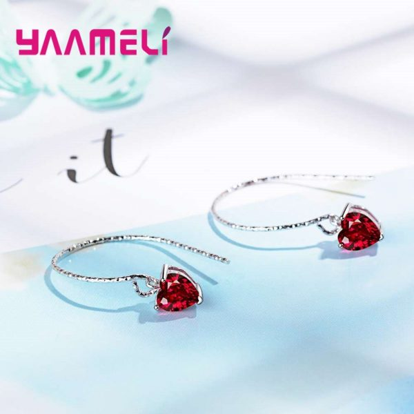 28565 9d8f4a 600x600 - Fashion Newest Women Jewelry Red Heart Shape AAAAA Cubic Zirconia 925 Sterling Silver Eardrop Wedding Excellent Earring