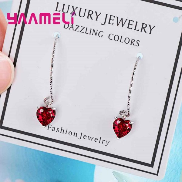 28565 b9af0d 600x600 - Fashion Newest Women Jewelry Red Heart Shape AAAAA Cubic Zirconia 925 Sterling Silver Eardrop Wedding Excellent Earring