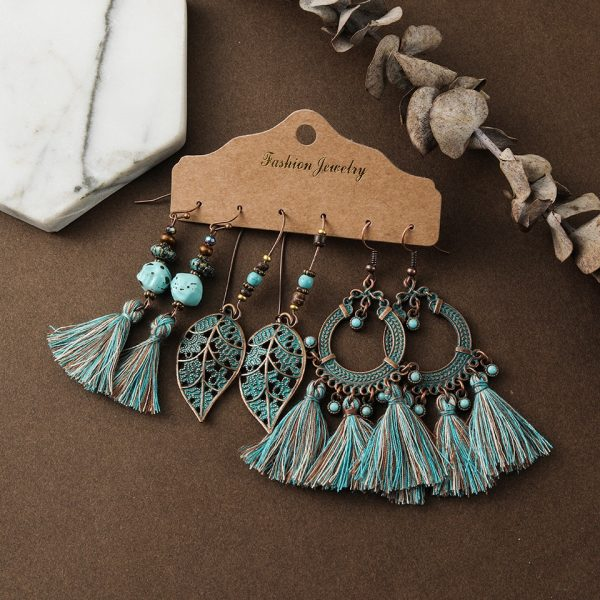 28637 5c0f08 600x600 - Indian Jewelry Ethnic Red Blue Water Drop Earrings for Women Girls Round Leather Acrylic Stones Metal Tassel Fringe Earrings