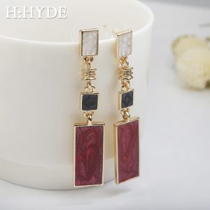 28670 7f19bc 300x300 - H:HYDE Fashion Square Design Drop Earrings Red White Black Color Long Geometric Earrings Retro Wedding Jewelry Brincos
